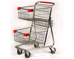 Duo Trolley 100L Zinc Plated Red Trim