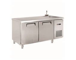 Two Door Stainless Steel Workbench Freezer with Sink - 1850mm W