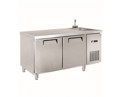 Two Door Stainless Steel Workbench Fridge with Sink - 1550mm W