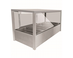 Heated Wet 6 x Half Pan Bain Marie Square Countertop Display