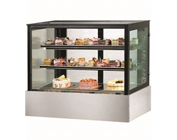 Black Trim Square Glass Cake Display 2 Shelves 900 X 700 X 1100