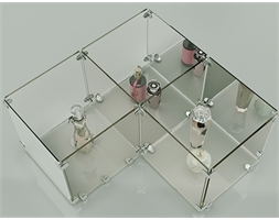 3 Glass Cube Open Sides Complete Set