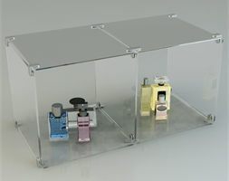 2 Glass Cubes Open Sides Complete Set