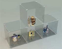4 Glass Cube Stepped Open Sides Complete Set