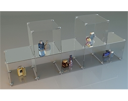 7 Glass Cube Open Sides 2 High Staggered Complete Set