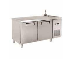 Two Door Stainless Steel Workbench Freezer with Sink - 1550mm W