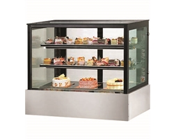 Black Trim Square Glass Cake Display 2 Shelves 1200 X 700 X 1100