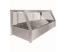 Heated Wet 8 x Half Pan Bain Marie Angled Countertop Display
