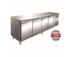 TROPICALISED 4 Door Gastronorm Bench Fridge with Splashback