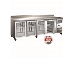 4 Glass Door Gastronorm Bench Fridge with Splashback