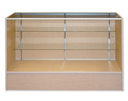 Display Counter Timber and Glass 1800mm White