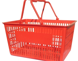 29L Plastic Shopping Basket - Red