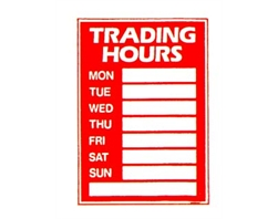 Trading Hours Sign Set with Pen Suction cups